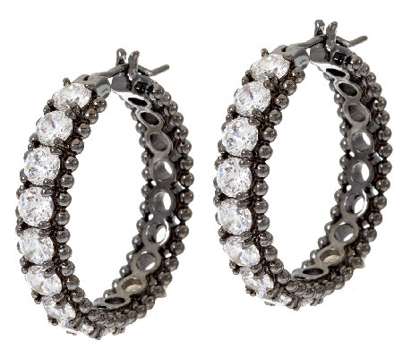 Diamonique Bead Design Hoop Earrings, Sterling or 14K Clad
