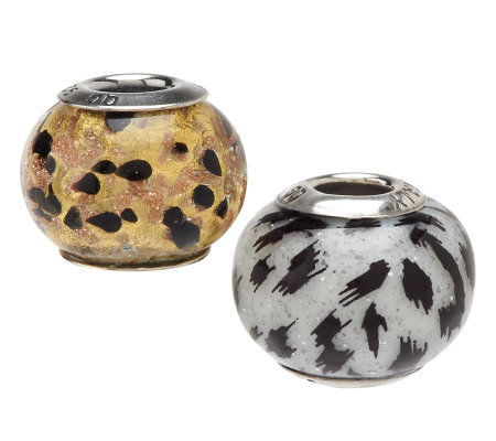 """As Is"" Prerogatives Sterling Set of 2 Wild Thing Beads"