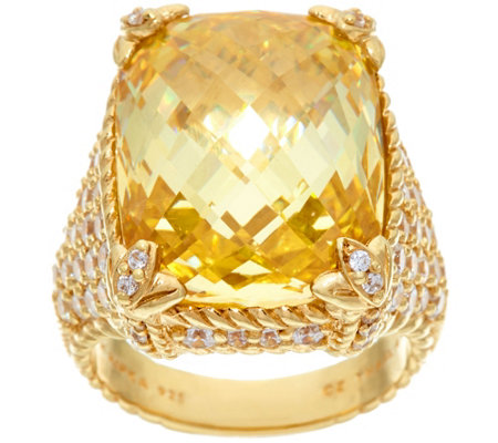 Judith Ripka 14K Clad Canary Diamonique Monaco Ring