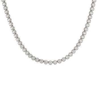 "Diamonique Textured 18"" Tennis Necklace Sterling or 14K Clad - J328279"
