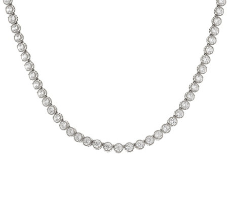 "Diamonique Textured 18"" Tennis Necklace Sterling or 14K Clad"