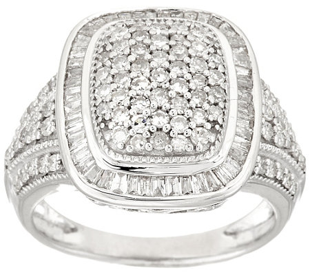 """As Is""Baguette & Pave Design Diamond Ring, Sterling,1.00ct tw by Affinity"