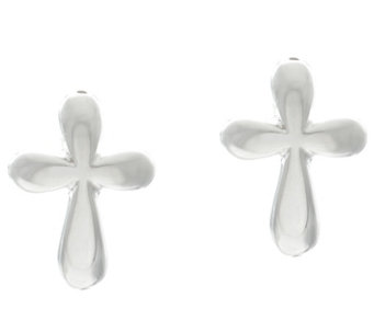 Sterling Silver Petite Cross Stud Earrings by Silver Style - J329379