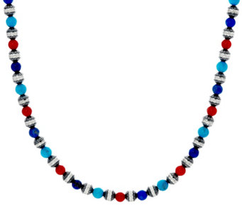 Sterling Silver Multi-Gemstone Bead Necklace by American West - J330479