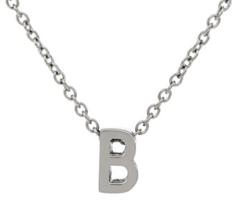 "Stainless Steel Polished Initial Pendant with 18"" Chain - J331279"