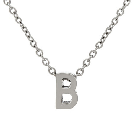 "Stainless Steel Polished Initial Pendant with 18"" Chain"