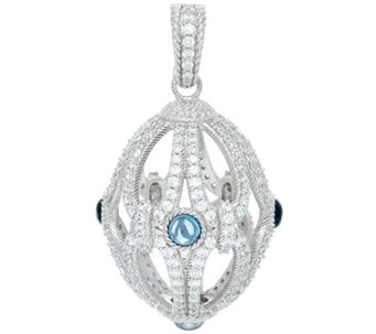 Judith Ripka Sterling London Blue Topaz & Diamonique Egg Enhancer - J331579