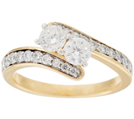 """As Is"" 98 Facet Two Stone Diamond Ring, 1.00 cttw, 14K, by Affinity"