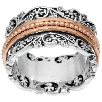 Sterling Silver Floral Lace Design Spinner Ring by Or Paz