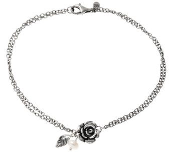 Sterling Silver Rose & Cultured Pearl Ankle Bracelet by Or Paz - J332579