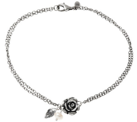Sterling Silver Rose & Cultured Pearl Ankle Bracelet by Or Paz