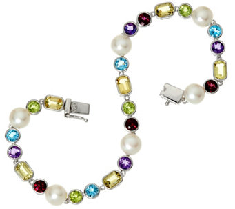 """As Is"" Honora Cultured Pearl 6.5mm & Multi- gemstone Sterl. Tennis Bracelet - J332879"