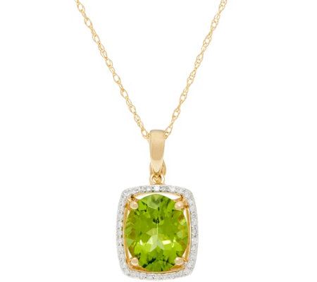 """As Is"" Oval Peridot & Diamond Pendant on 18"" Chain, 14K 3.00 ct"