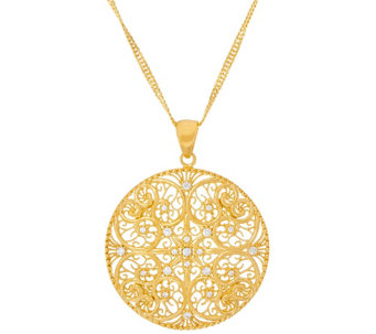 """As Is"" Veronese 18K Clad Round Pendant w/ 30"" Chain - J334879"
