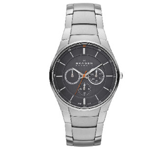Skagen Men's Stainless Steel Bracelet Black Dial Watch - J336279