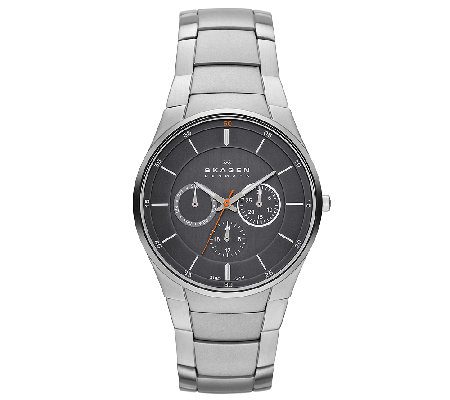 Skagen Men's Stainless Steel Bracelet Black Dial Watch