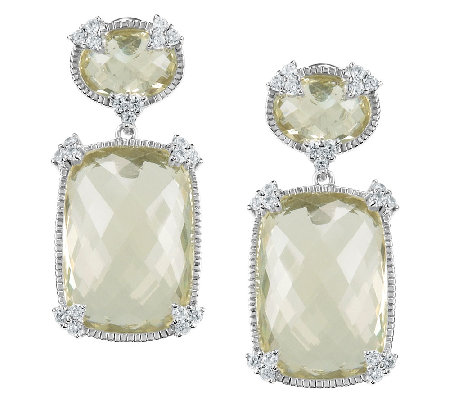 Judith Ripka Sterling Lemon Quartz & Diamonique Drop Earrings