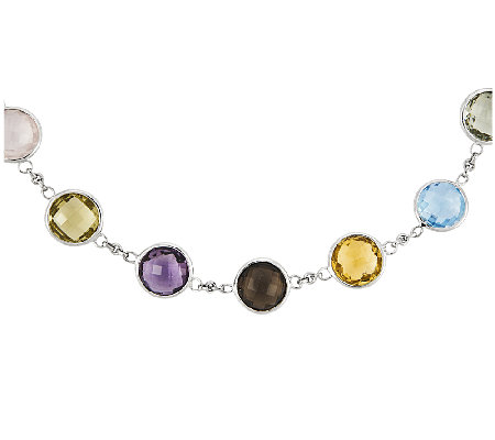 "Sterling 43.40 cttw Multi-Gem Round Station 18-1/2"" Necklace"