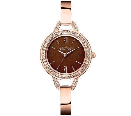 Caravelle New York Women's Rosetone & Brown Watch