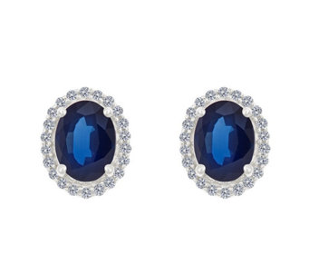 Premier 8x6mm Oval Sapphire & Diamond Halo StudEarrings, 14K - J337079