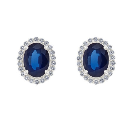 Premier 8x6mm Oval Sapphire & Diamond Halo StudEarrings, 14K