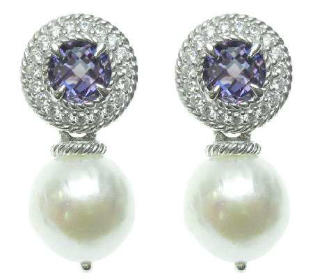 Judith Ripka Sterling Simulated Amethyst & Pearl Drop Earring