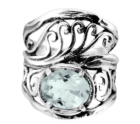 Or Paz Sterling Open Work Design Gemstone Ring