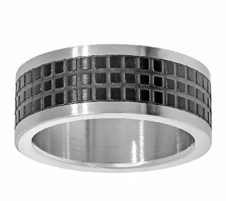 Stainless Steel Men's Two-tone Square Texture Design Ring