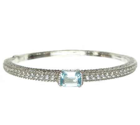 Judith Ripka Sterling Sky Blue Topaz & Diamonique Bangle