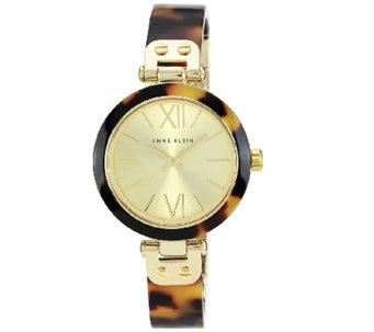 Anne Klein Ladies Goldtone Tortoise Plastic Bezel Watch - J338779