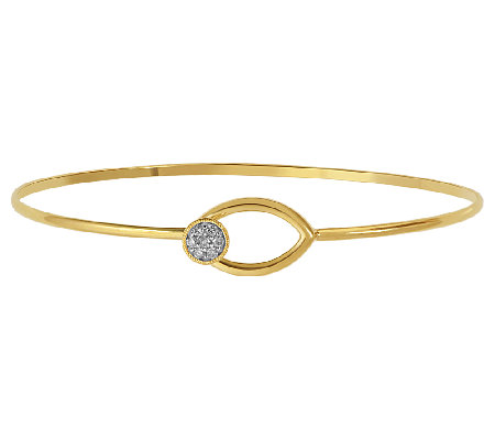 Diamond Accent Hook Bangle, Sterl./14K Plated,by Affinity