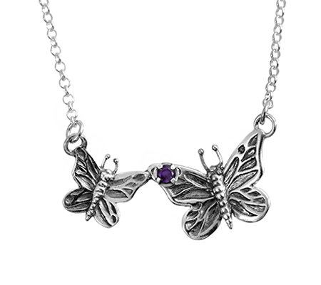 Sterling Double Butterfly Amethyst Accent Necklace by Or Paz