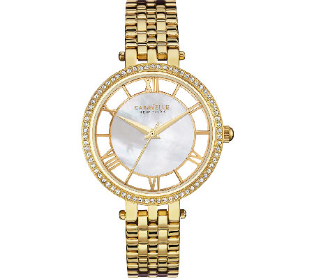 Caravelle New York Women's Goldtone Crystal Bracelet Watch