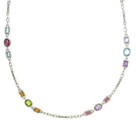 "Judith Ripka Sterling Multi-Gemstone 18"" Station Necklace"