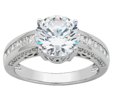 Diamonique Sterling 3.85cttw Round Solitaire Ring