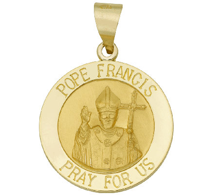 Pope Francis Medal Pendant, 14K Gold