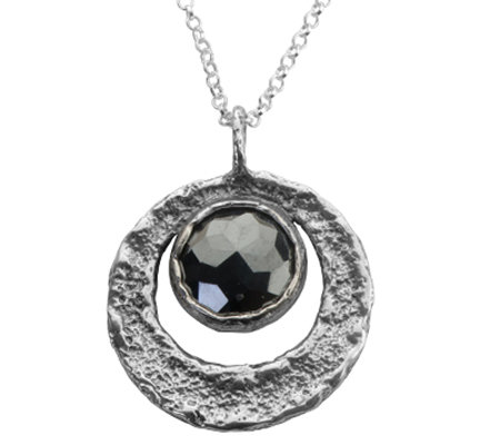 Sterling Faceted Hematite Round Pendant w/Chain by Or Paz