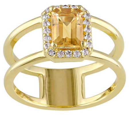 1.30 cttw Citrine & White Topaz Ring, Sterling