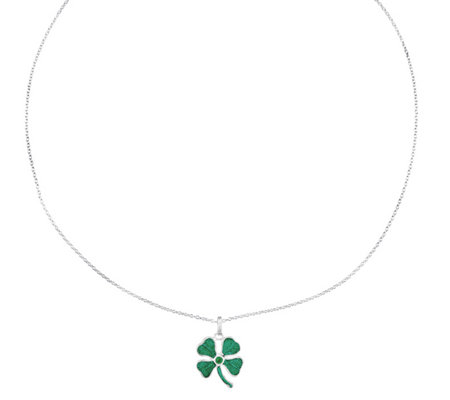 "Sterling Four-leaf Clover Green Crystal Pendantw/18"" Necklace"