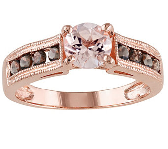 Sterling 1.25 cttw Morganite & Smoky Quartz Ring - J342179