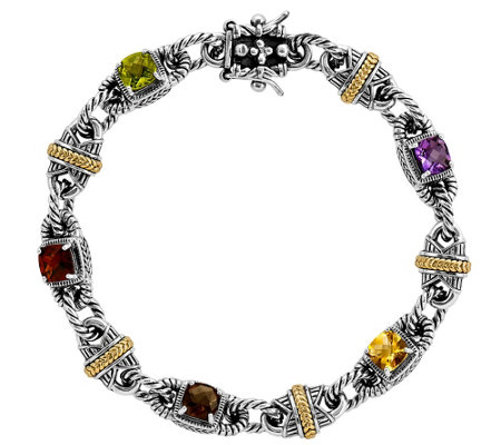 "Sterling and 14K Gold Multi-Gemstone 7-3/4"" Bracelet"