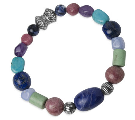 Sterling Pastel Beaded Magnetic Bracelet by American West