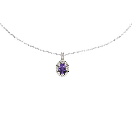 "Sterling Oval Gemstone Pendant w/ 18"" Chain"