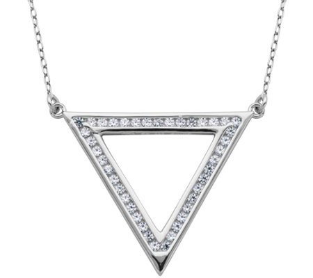 "Diamonique 1/2 cttw Open Triangle 18"" Necklace,Sterling"