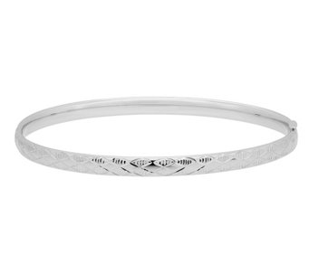 "EternaGold 7-1/2"" Argyle Pattern Bangle, 14K White Gold - J344679"