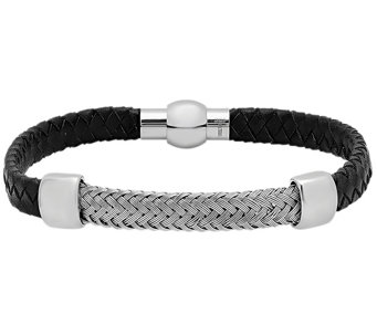 Forza Men's Stainless Leather w/ Woven StationBracelet - J344979