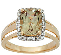 Elongated Cushion Csarite & Diamond Ring 14K Gold 2.00 ct - J348679