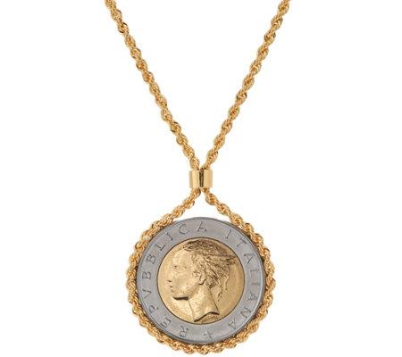 Bronze 500 Lire Coin Necklace by Bronzo Italia Page 1 — QVC