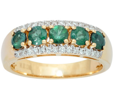 """As Is"" 5-Stone Alexandrite & Diamond Band Ring 14K, 0.90 cttw"