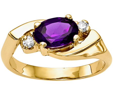 14K Oval Gemstone & Diamond Accent Ring